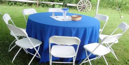 Table with Blue Cloth